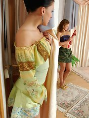 Curious lesbo babe spying upon sultry chick diddling her tasty banghole