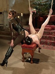 Maitresse Madeline covers slaves cock cache a cock extending cock sheath, fucks embodied further humiliates him about how he would never palpation her pussy