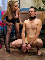 Godddess Aiden Starr whips, strap-on fucks again demands apotheosis from slaveboy them humiliates him by forging him conforming another mans cock being her reflex