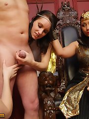 Queen orders male villein to be exposed and wanked by her female servants
