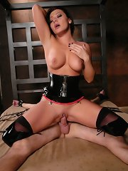 Mistress Sandra Romain fucks prisoner boy