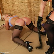 Hard spanking and pussy torture of bound girl