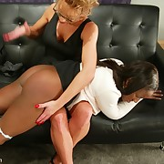 Mistress influencing and spanking slavegirl
