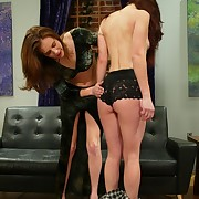 Whipped, humilliated and strapon fucked waiting upon