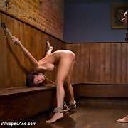 The submissive hooker getting fucked and spanked in lezdom sm