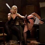 An obstacle pupil dominatrix flogged and fucked older attorney bitch