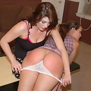 Girl spanked her girlfriend's bare ass hard
