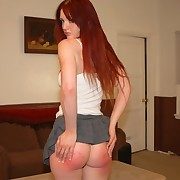 "Red-haired babe is spanked overwrought will not hear of ""mom"" and ""dad"""