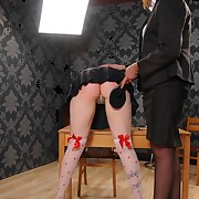 A blonde schoolgirl was paddled