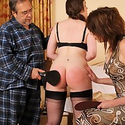 Pa spanked his chubby daughter on the bed