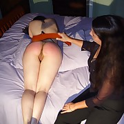 Girl was punished on the bed