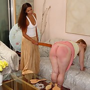 The chubby young girl was paddled hard