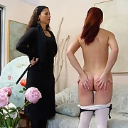 Salacious skirt gets spiteful spanks on her nates