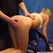 Blonde was spanked on the chears