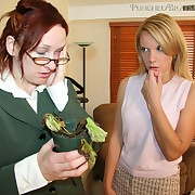 Lady spanked secretary by hairbrush otk