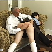 Kinky schoolgirl gets off on the cane