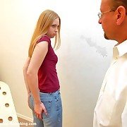 Pretty blonde was paddled and caned to tears