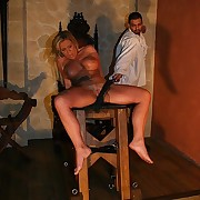 Chunky titty blonde got spanked rough