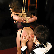 Slut bound, tortured and fucked by long dick on stick
