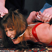 Slut bound, fucked by dildo into mouth and forced to cum