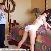 Michaela gets a 50-swat grove spanking for long distance calls at work