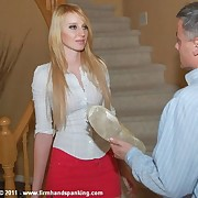 Beautiful blonde Adrienne's 20 strokes with a slipper for hiding supplies
