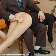 Undressed submissive hand and hairbrush spanking for hot flight attendant Adrienne Black
