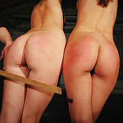 Handcuffed Lola and Rachel need some extra ass pain