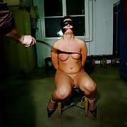 Brutal whipped plastic blindfolded and gagged Irish.