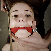 Bandaged with the addition of gagged Amy got titties with the addition of stomach caning!