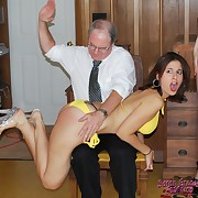 Daddy spanked milf babes raw