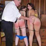 Daddy spanked milf babes raw