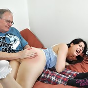 Voluptuous femme has depraved spanks on her bum
