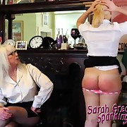 Nasty skirt has her derriere welted