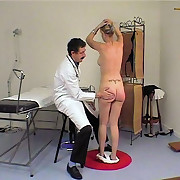Pretty girl fully naked and spanked in the doctor`s office