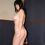 Lovely young miss stripping down increased by posing with the brush luscious bottom