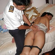Cute Asian amateur hikes up her skirt and take off her panties hither get do without spanked in her ass