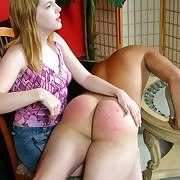 Pretty babe made this naughty guy mope superior to before the brush lap increased by gave his bare bottom hot hand birching