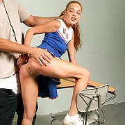 Cheerleader gets reprimanded be advantageous to their way failing grades with the addition of takes bare bottom ass electrocution