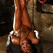 Hanged Ella endures extreme hard whip lashes on her tied pair ass increased by pussy