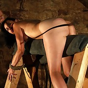 Compelled up to wooden ray for brunettes arch pricking torture with fierce strokes on her hairy skin
