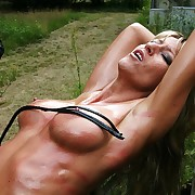 Blonde bitch oiled body gets iron fucked plus tit plus pussy whipped tune Dis