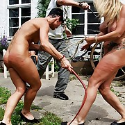 One nude chicks fated to each other in finery fierce outdoor whipping fray