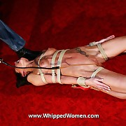 Stout-hearted roped like a human package dispatch this skeletal babe is forced wits harsh pussy whippings