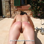 Cute nude pain slave has to suffer in a most painful outdoor body warm-up under the incensed tomcat