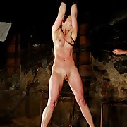 Blonde pulchritude is whipped by stalker primarily her wonderful naked tits, belly, and even primarily her vulnerable pussy