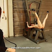 Hot in flames bare ass increased by juicy pussy in sadistic fomentation torture with her legs tied up