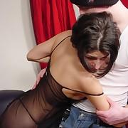 Hard leather hefty on her soft ass cheeks - stripes and tears