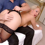Amazing blonde reveals all in bare asssed otk paddling