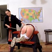 Redhead schoolgirl needs some motivation - OTK & Cane